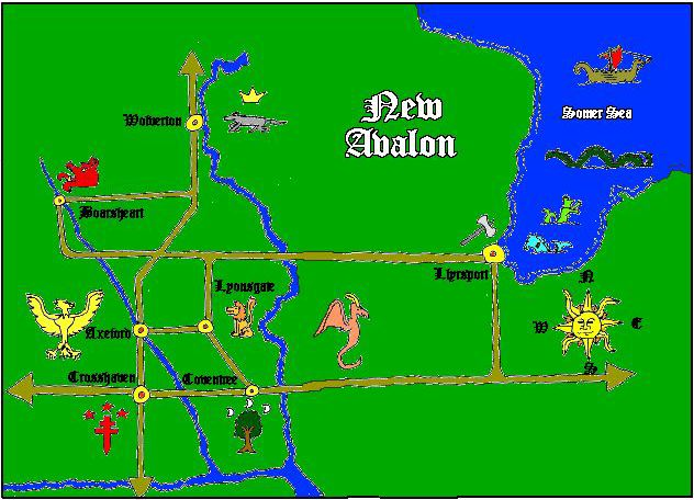 This is a map of New Avalon which you're not allowed to see 'cuz Geocities has screwed up.